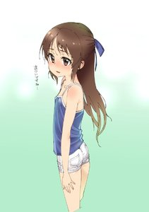 Rating: Safe Score: 1 Tags: 1girl ass blue_camisole bow brown_eyes brown_hair camisole flat_chest from_side gengorou hair_bow highres idolmaster idolmaster_cinderella_girls long_hair ribbon short_shorts shorts simple_background solo tachibana_arisu white_background white_shorts User: DMSchmidt