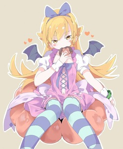 Rating: Safe Score: 8 Tags: 1girl bakemonogatari bangs bat_wings black_wings blonde_hair blue_hairband blue_ribbon blush_stickers brown_background brown_eyes doughnut dress eating eyebrows_behind_hair feet_out_of_frame food french_cruller hair_between_eyes hair_ribbon hairband half-closed_eyes head_tilt heart highres holding holding_food long_hair looking_at_viewer monogatari_(series) navel navel_cutout oshino_shinobu outline pink_dress puffy_short_sleeves puffy_sleeves ribbon short_sleeves sitting solo striped striped_legwear tantan_men thighhighs very_long_hair white_outline wings User: DMSchmidt