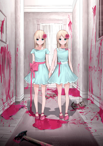 Rating: Safe Score: 6 Tags: 2girls axe bangs bare_arms bare_legs bare_shoulders blonde_hair blood blue_dress blue_eyes closed_mouth collarbone dress expressionless flower full_body grady_sisters_(the_shining) hair_flower hair_ornament highres holding_hands indoors jewellery kanju long_hair looking_at_viewer multiple_girls necklace original parted_bangs pink_blood pink_flower pink_footwear pink_ribbon ribbon shoes short_sleeves side-by-side sleeveless sleeveless_dress standing stuffed_animal stuffed_toy teddy_bear the_shining thighs User: DMSchmidt