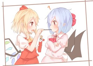 Rating: Safe Score: 1 Tags: 2girls ? ascot bat_wings black_wings blonde_hair blue_hair blush brooch crossed_arms crystal flandre_scarlet food from_side jewellery long_hair long_sleeves multiple_girls open_mouth pink_shirt pocky pointy_ears puffy_sleeves red_eyes red_neckwear red_skirt red_vest remilia_scarlet sakurea shirt siblings sisters skirt skirt_set smile touhou_project upper_body vest white_shirt wings yellow_neckwear User: DMSchmidt