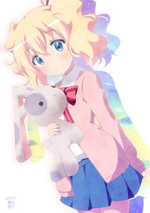 Rating: Safe Score: 0 Tags: 1girl :x alice_cartelet aosora_neko arm_behind_back artist_name bangs blonde_hair blue_eyes blue_skirt blush bow bowtie closed_mouth collared_shirt cowboy_shot dated eyebrows_visible_through_hair flat_chest hair_between_eyes hair_ornament hair_stick holding holding_stuffed_animal kin-iro_mosaic long_sleeves looking_at_viewer pink_jacket pleated_skirt school_uniform shirt short_hair signature silhouette skirt smile solo standing striped striped_bow striped_bowtie stuffed_animal stuffed_bunny stuffed_toy twin_tails wavy_hair white_shirt wing_collar User: Domestic_Importer