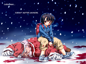 Rating: Explicit Score: 1 Tags: 1boy 1girl backpack bag beard blood blood_on_face blue_background boxcutter christmas color death facial_hair guro hard_translated knife murder nevada-tan original pizza_man randoseru santa_claus snow third-party_edit translated wallpaper User: DMSchmidt