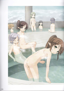 Rating: Questionable Score: 7 Tags: 6+girls :o absurdres ass bath bathing black_hair blush brown_hair closed_eyes cloud elf facing_away flat_chest from_behind green_eyes highres jiji light_smile looking_at_viewer medium_hair multiple_girls navel nude original page_number pillar pointy_ears ponytail scan short_hair silver_hair sitting standing wading User: Domestic_Importer