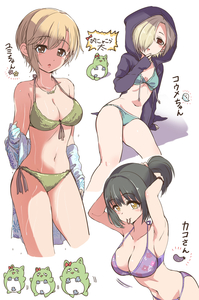 Rating: Safe Score: 1 Tags: 3girls absurdres aiba_yumi arm_support arm_up bangs bikini black_hair black_jacket blue_bikini blush bow breasts brown_eyes bunching_hair cleavage closed_mouth collarbone cowtits cropped_legs drawstring eggplant eyebrows_visible_through_hair fingernails ghost green_bikini hair_between_eyes hair_over_one_eye hair_tie hair_tie_in_mouth head_tilt highres hood hood_up hooded_jacket idolmaster idolmaster_cinderella_girls jacket large_breasts light_brown_hair long_sleeves medium_breasts mouth_hold multiple_girls o-ring o-ring_bikini o-ring_bottom o-ring_top open_clothes open_jacket parted_lips pina_korata pizzasi purple_bikini red_bow seashell shell shirasaka_koume side-tie_bikini sidelocks sleeves_past_wrists small_breasts swimsuit takafuji_kako translation_request tying_hair wet wet_hair white_background User: DMSchmidt