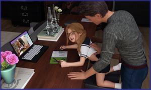Rating: Safe Score: 9 Tags: 1boy 1girl 3dcg age_difference computer flower glasses itigus_(artist) kneeling laptop photorealistic smile socks User: fantasy-lover