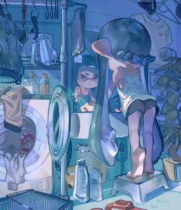 Rating: Safe Score: 1 Tags: 1girl absurdres aspara bangs barefoot basket bathroom black_hair black_shorts blunt_bangs bottle camisole cellphone cup denchinamazu domino_mask ear_clip feet footstool from_behind gym_shorts hair_dryer heel_up highres indoors inkling leaning_forward long_hair looking_at_mirror mask mirror nintendo octarian octotrooper phone plant pointy_ears purple_eyes red_footwear sandals shirt shorts sink smartphone soles solo splatoon splatoon_(series) splatoon_1 spray_bottle strap_slip t-shirt tentacle_hair toothbrush very_long_hair washing white_shirt User: Domestic_Importer