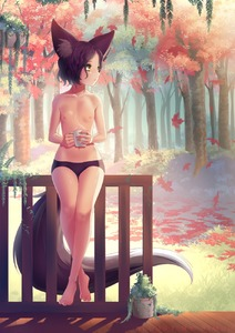 Rating: Questionable Score: 9 Tags: 1girl animal_ears autumn autumn_leaves bare_legs barefoot black_panties borrowed_character brown_hair coffee_cup collarbone cup fence flat_chest forest fox_ears fox_tail full_body grass highres holding holding_cup lexi_(lurkios) looking_to_the_side midriff nature navel nipples original outdoors pantsu paws plant potted_plant rimuu short_hair sitting solo steam stomach tail thigh_gap topless underwear wooden_fence wooden_floor yellow_eyes User: DMSchmidt