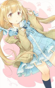 Rating: Safe Score: 1 Tags: 1girl bangs black_legwear blue_bow blue_dress blush bow brown_cardigan brown_eyes cardigan collared_dress drawn_ears dress eyebrows_visible_through_hair face_filter futaba_anzu gomennasai hair_bow hands_up idolmaster idolmaster_cinderella_girls idolmaster_cinderella_girls_starlight_stage kneehighs light_brown_hair long_hair long_sleeves low_twintails open_cardigan open_clothes parted_lips plaid plaid_dress sleeves_past_wrists solo striped striped_bow twin_tails very_long_hair whiskers User: Domestic_Importer