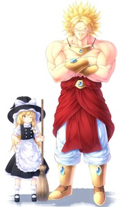 Rating: Safe Score: 1 Tags: 1boy 1girl blonde_hair blush bow bracelet broly broom crossed_arms crossover dragon_ball dragon_ball_z dress earrings hair_bow hair_ribbon hat height_difference highres jewellery kirisame_marisa komimiyako legendary_super_saiyan long_hair muscle necklace puffy_sleeves ribbon short_sleeves smile smirk spiked_hair super_saiyan touhou_project white_background witch_hat yellow_eyes User: DMSchmidt