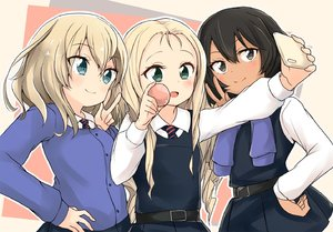 Rating: Safe Score: 0 Tags: 3girls andou_(girls_und_panzer) bangs barashiya bc_freedom_school_uniform belt black_hair blonde_hair blue_eyes blush brown_eyes brown_skin cellphone drill_hair food girls_und_panzer green_eyes hand_on_hip long_hair long_sleeves macaron marie_(girls_und_panzer) medium_hair messy_hair multiple_girls necktie open_mouth oshida_(girls_und_panzer) phone pleated_skirt school_uniform simple_background skirt smartphone smile sweater sweater_around_neck taking_picture v User: DMSchmidt