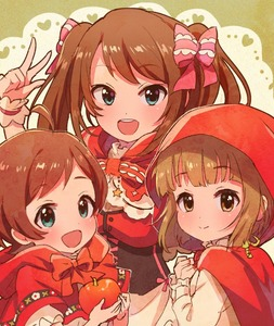 Rating: Safe Score: 1 Tags: 10s 1boy 2girls ahoge apple bow brown_hair cosplay dress food fruit hair_bow idolmaster idolmaster_cinderella_girls idolmaster_million_live! idolmaster_side-m kinoshita_hinata little_red_riding_hood little_red_riding_hood_(cosplay) looking_at_viewer mizushima_saki multiple_girls open_mouth otoko_no_ko pink_bow red_bow red_hood shinonoko_(tubamecider) smile twin_tails upper_body v yorita_yoshino User: Domestic_Importer