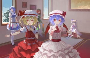 Rating: Safe Score: 0 Tags: 5girls absurdres apron arms_at_sides bangs bat_wings black_shoes blonde_hair blue_dress blue_eyes blue_hair blush book bow braid capelet carpet closed_mouth cravat crescent_hair_ornament crystal dress flandre_scarlet flats frame frilled_apron frills green_hat hair_between_eyes hair_bobbles hair_bow hair_ornament hair_ribbon hat head_wings headdress high_heels highres hong_meiling horizontal_stripes indoors izayoi_sakuya lace_trim lamase_(41) layered_skirt leaning_back leg_up long_hair looking_at_another looking_at_viewer looking_away maid_headdress mob_cap multiple_girls no_shoes on_floor one_side_up open_mouth outstretched_arm pants pantsu patchouli_knowledge pelvic_curtain pink_skirt puffy_short_sleeves puffy_sleeves purple_hair red_bow red_eyes red_hair red_ribbon red_skirt red_vest remilia_scarlet ribbon sash shade shirt shoes short_sleeves siblings sisters sitting skirt skirt_set sky smile standing standing_on_one_leg striped striped_dress touhou_project tree tress_ribbon twin_braids underwear waist_apron white_apron white_bow white_legwear white_pants white_shirt window wings wrist_cuffs User: DMSchmidt