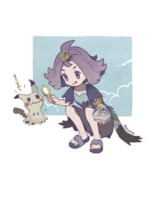 Rating: Safe Score: 1 Tags: 1girl :q acerola_(pokemon) armlet artist_name closed_mouth dress elite_four flipped_hair gen_7_pokemon hair_ornament highres holding mimikyu mozpoke multicoloured multicoloured_clothes multicoloured_dress pokemon pokemon_(creature) pokemon_(game) pokemon_sm purple_hair sandals short_hair squatting stitches tongue tongue_out trial_captain User: DMSchmidt