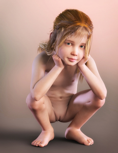 Rating: Questionable Score: 62 Tags: 1girl 3dcg barefoot blonde_hair bouba clitoris flat_chest full_body green_eyes hands_on_own_cheeks long_hair looking_at_viewer navel nipples nude photorealistic pussy solo squatting User: yobsolo