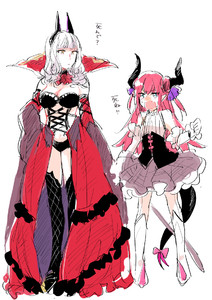 Rating: Safe Score: 2 Tags: 2girls bare_shoulders blue_eyes blush boots bow breasts carmilla_(fate/grand_order) cleavage cowtits curled_horns detached_sleeves dual_persona elizabeth_bathory_(fate) elizabeth_bathory_(fate)_(all) fate/grand_order fate_(series) large_breasts looking_at_another meeko multiple_girls open_mouth pink_bow pink_hair revealing_clothes sketch sweat tail tail_bow thigh_boots thighhighs time_paradox translation_request white_background white_hair yellow_eyes User: DMSchmidt