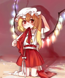 Rating: Safe Score: 0 Tags: 1girl absurdres ascot blonde_hair flandre_scarlet full_body hat highres kneeling long_hair mob_cap mouth_hold red_eyes red_skirt shirt side_ponytail skirt socks solo tis_(shan0x0shan) touhou_project white_legwear white_shirt wings User: DMSchmidt