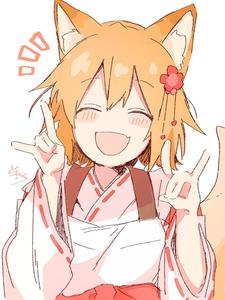 Rating: Safe Score: 0 Tags: 1girl :d ^_^ animal_ear_fluff animal_ears apron bangs blush_stickers bow brown_hair closed_eyes double_fox_shadow_puppet eyebrows_visible_through_hair facing_viewer fang flower fox_ears fox_girl fox_shadow_puppet fox_tail hair_between_eyes hair_flower hair_ornament hands_up highres japanese_clothes kimono long_sleeves notice_lines open_mouth red_bow red_flower ribbon-trimmed_sleeves ribbon_trim senko_(sewayaki_kitsune_no_senko-san) sewayaki_kitsune_no_senko-san signature simple_background smile sofra solo tail tail_raised upper_body white_apron white_background white_kimono wide_sleeves User: Domestic_Importer