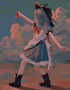 Rating: Safe Score: 3 Tags: 1girl absurdres arm_up black_footwear black_headwear blouse blue_hair blue_skirt blue_sky boots cloud fkey full_body highres hinanawi_tenshi holding leaf long_hair outdoors petticoat red_eyes shadow short_sleeves sidelocks skirt sky solo standing sunset sword touhou_project weapon weapon_on_back white_blouse User: DMSchmidt