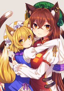 Rating: Safe Score: 1 Tags: 2girls age_switch alternate_hair_length alternate_hairstyle animal_ear_fluff animal_ears artist_name bangs blonde_hair blue_dress blush brown_eyes brown_hair cat_ears cat_tail chen cowboy_shot dress earrings eyebrows_visible_through_hair fingernails fox_ears fox_tail frilled_shirt_collar frills green_hat grey_background hair_between_eyes hair_intakes hat highres hug jewellery juliet_sleeves long_hair long_sleeves looking_at_viewer marota mob_cap multiple_girls multiple_tails nail_polish neck_ribbon nekomata older puffy_sleeves red_nails ribbon sharp_fingernails shirt simple_background smile tabard tail touhou_project twitter_username two_tails very_long_hair white_hat white_neckwear white_ribbon white_shirt yakumo_ran yellow_eyes yellow_ribbon younger User: DMSchmidt