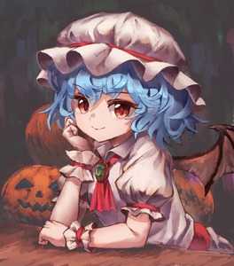 Rating: Safe Score: 0 Tags: 1girl absurdres arm_rest bat_wings blue_hair brooch cravat elbow_rest eyebrows_visible_through_hair faux_traditional_media gradient gradient_background hair_between_eyes halloween hand_on_own_face hat highres jack-o'-lantern jewellery looking_at_viewer mob_cap pink_headwear pink_shirt pink_skirt puffy_short_sleeves puffy_sleeves red_eyes red_neckwear remilia_scarlet sash shirt short_hair short_sleeves skirt smile solo touhou_project upper_body wings wrist_cuffs yanyan_(shinken_gomi) User: DMSchmidt