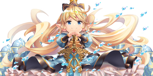 Rating: Safe Score: 0 Tags: 1girl blonde_hair blue_eyes blush charlotta_fenia closed_mouth crown dress eyebrows_visible_through_hair floating_hair granblue_fantasy hand_on_hilt harvin long_hair o_(rakkasei) own_hands_together pointy_ears smile solo sword v-shaped_eyebrows very_long_hair weapon white_background User: DMSchmidt