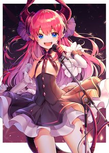 Rating: Safe Score: 1 Tags: 1girl :d absurdres black_skirt blue_eyes detached_sleeves elizabeth_bathory_(fate)_(all) eyebrows_visible_through_hair fate/extra fate/extra_ccc fate_(series) flat_chest floating_hair hair_between_eyes hair_ornament highres holding_microphone_stand horns layered_skirt long_hair long_sleeves looking_at_viewer open_mouth pink_hair pointy_ears shiny shiny_hair skirt smile solo standing tail very_long_hair white_sleeves User: DMSchmidt
