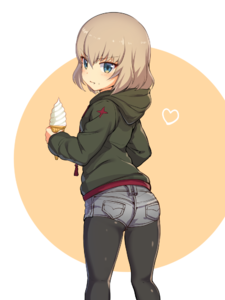 Rating: Safe Score: 3 Tags: 1girl ass black_legwear blue_eyes blush brown_hair fang food food_on_face from_behind girls_und_panzer heart ice_cream ikomochi katyusha legwear_under_shorts looking_at_viewer looking_back pantyhose short_hair solo User: Domestic_Importer