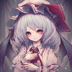 Rating: Safe Score: 0 Tags: 1girl ascot bangs bat_wings blue_hair brooch eyebrows_visible_through_hair hand_on_own_chest hat hat_ribbon highres hito_komoru jewellery looking_at_viewer mob_cap puffy_short_sleeves puffy_sleeves red_eyes red_neckwear red_ribbon remilia_scarlet ribbon short_hair short_sleeves smile solo symbol_commentary touhou_project upper_body useless_tags white_headwear wings wrist_cuffs User: DMSchmidt