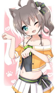Rating: Safe Score: 2 Tags: 1girl ahoge animal_ears blue_eyes blush breasts brown_hair cat_ears collarbone fang hair_ornament hololive looking_at_viewer midriff natsuiro_matsuri navel one_eye_closed open_mouth paw_pose ribbon side_ponytail simple_background small_breasts solo tn_pr26 virtual_youtuber User: DMSchmidt