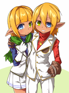 Rating: Safe Score: 1 Tags: 1boy 1girl aura_bella_fiora blonde_hair blue_eyes brll crossdressing elf gloves green_eyes heterochromia looking_at_viewer mare_bello_fiore otoko_no_ko overlord_(maruyama) pointy_ears reverse_trap short_hair smile tomboy User: DMSchmidt