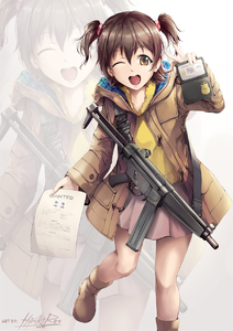 Rating: Safe Score: 1 Tags: 1girl akagi_miria brown_eyes brown_hair brown_skirt fbi gun h&k_mp5 heckler_&_koch highres hiroki_ree idolmaster idolmaster_cinderella_girls looking_at_viewer police shoes skirt smile solo submachine_gun weapon User: Domestic_Importer