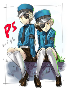Rating: Safe Score: 0 Tags: 2girls caroline_(persona_5) eyepatch hat justine_(persona_5) looking_at_viewer multiple_girls persona persona_5 police police_uniform siblings sisters sitting twins uniform werkbau User: DMSchmidt