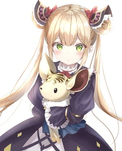 Rating: Safe Score: 5 Tags: 1girl bangs blonde_hair bow double_bun dress frills frown green_eyes hair_ornament highres kichi_(kichifav) long_hair long_sleeves looking_at_viewer luna_(shadowverse) ribbon shadowverse simple_background solo stuffed_animal stuffed_toy twin_tails very_long_hair white_background yellow_eyes User: DMSchmidt