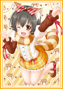 Rating: Safe Score: 0 Tags: 10s 1girl akagi_miria animal_ears black_hair blush brown_eyes highres idolmaster idolmaster_cinderella_girls looking_at_viewer one_eye_closed open_mouth outstretched_arm raccoon raccoon_ears raccoon_tail regular_mow short_hair smile solo tail twin_tails User: Domestic_Importer