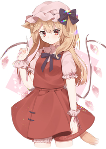 Rating: Safe Score: 0 Tags: 1girl abe_suke absurdres animal_ear_fluff animal_ears black_bow blonde_hair bloomers bow collared_shirt crystal dress_shirt fingernails flandre_scarlet hand_up hat hat_bow highres kemonomimi_mode long_hair mob_cap nail_polish pink_background pink_bloomers pink_bow pink_headwear pink_nails pink_shirt pleated_skirt red_skirt red_vest shirt signature skirt solo tail touhou_project two-tone_background underwear very_long_hair vest white_background wings wrist_cuffs User: DMSchmidt