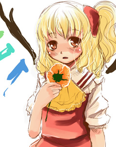 Rating: Safe Score: 1 Tags: 1girl ascot bangs blonde_hair blush flandre_scarlet flower hair_ribbon holding holding_flower long_hair looking_at_viewer no_hat no_headwear one_side_up open_mouth orange_flower red_eyes red_ribbon ribbon short_sleeves simple_background sketch solo touhou_project upper_body white_background wings yellow_neckwear yuu_(kfc) User: DMSchmidt