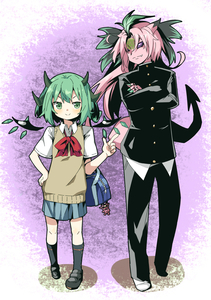 Rating: Safe Score: 0 Tags: 1boy 1girl :> astaroth_(p&d) bag blue_skirt bow cauchemar_(p&d) crossed_arms demon_girl demon_horns detached_wings gakuran green_eyes green_hair handbag highres horns long_hair pink_hair pink_skin pleated_skirt puzzle_&_dragons red_bow sanzui school_uniform short_hair skirt smile sweater_vest wings User: Domestic_Importer