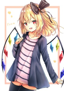 Rating: Safe Score: 1 Tags: 1girl :d alternate_costume bangs black_bow black_legwear blonde_hair blue_jacket blush bow casual character_name collarbone contemporary cowboy_shot crystal eyebrows_visible_through_hair flandre_scarlet hair_bow hair_ornament hand_up heart jacket jewellery long_hair long_sleeves looking_at_viewer no_hat no_headwear no_pants open_clothes open_jacket open_mouth pendant pink_shirt red_eyes renka_(cloudsaikou) shirt smile solo standing striped striped_shirt thighhighs thighs touhou_project white_background wings zettai_ryouiki User: DMSchmidt