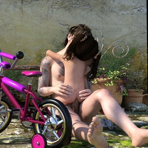 Rating: Explicit Score: 33 Tags: 1boy 1girl 3dcg age_difference anal ass ass_grab barefoot brown_hair kiss nude outdoors penis photorealistic slimdog tattoo toddlercon tricycle twin_tails User: yobsolo
