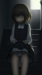 Rating: Questionable Score: 6 Tags: 1girl brown_hair cameltoe closed_eyes dark dress dress_lift henkyuu lifted_by_self original pantsu pee peeing peeing_self pinafore_dress shirt short_hair solo stairs tears underwear wet wet_clothes wet_pantsu white_shirt User: Domestic_Importer