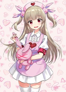 Rating: Safe Score: 2 Tags: 1girl :d bangs blonde_hair blush breasts bunny_hair_ornament cowboy_shot doll_hug dress eyebrows_visible_through_hair fang hair_ornament hand_up hat head_tilt heart holding long_hair looking_at_viewer miniskirt morikura_en nail_polish natori_sana nurse_cap open_mouth pink_background pleated_skirt puffy_short_sleeves puffy_sleeves red_eyes red_nails sana_channel shirt short_sleeves sidelocks signature simple_background skirt small_breasts smile solo standing stuffed_animal stuffed_bunny stuffed_toy thighhighs two_side_up virtual_youtuber white_legwear white_shirt white_skirt zettai_ryouiki User: DMSchmidt