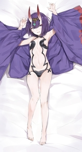 Rating: Safe Score: 1 Tags: 1girl :d absurdres armpits arms_up bangs bare_legs bare_shoulders barefoot bed_sheet blush breasts collarbone dakimakura eyebrows_visible_through_hair eyeshadow fangs fate/grand_order fate_(series) from_above full_body headpiece highres horns long_sleeves looking_at_viewer looking_up lying makeup navel on_back oni open_mouth purple_hair revealing_clothes short_hair shuten_douji_(fate/grand_order) sideboob silver_(chenwen) small_breasts smile stomach teeth wide_sleeves User: DMSchmidt