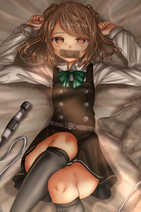 Rating: Safe Score: 10 Tags: 1girl bed bedroom belt black_legwear blush bow bowtie brown_eyes brown_hair dress hair_ornament highres kantai_collection long_hair long_sleeves looking_at_viewer lying lying_on_bed michishio_(kantai_collection) pillow school_uniform sex_toy shirt shounen_(hogehoge) solo t thighhighs vibrator white_shirt User: Domestic_Importer