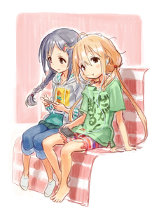 Rating: Safe Score: 0 Tags: 2girls barefoot black_hair blonde_hair blush_stickers braid brown_eyes cable cellphone clothes_writing denim drawstring earbuds earphones eyebrows_visible_through_hair fugo full_body futaba_anzu hair_ornament hairclip hood hoodie idolmaster idolmaster_cinderella_girls long_hair looking_at_viewer low_twintails matsuo_yuusuke miyoshi_sana mouth_hold multiple_girls no_shoes phone playing_games shirt sitting sketch smartphone smile socks spats striped striped_bike_shorts t-shirt twin_braids twin_tails User: Domestic_Importer