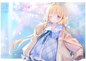 Rating: Safe Score: 0 Tags: 1girl ;) ahoge aliasing artist_name bangs blonde_hair blue_bow blue_dress blurry blurry_background blush bow brown_eyes brown_jacket closed_mouth d depth_of_field dress dutch_angle eyebrows_visible_through_hair fingernails futaba_anzu hair_between_eyes hair_bow highres idolmaster idolmaster_cinderella_girls index_finger_raised jacket lolita_fashion long_hair long_sleeves low_twintails mullpull one_eye_closed open_clothes open_jacket plaid plaid_dress ribbon sleeves_past_fingers sleeves_past_wrists smile solo twin_tails very_long_hair watermark User: Domestic_Importer