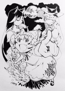 Rating: Safe Score: 0 Tags: 3girls animal_ears aozora_taf artist_name bow cirno closed_mouth dress fan fang fingernails folding_fan foreshortening full_moon greyscale hair_bow half-closed_eyes hat hat_ribbon highres ice ice_wings imaizumi_kagerou long_hair looking_at_viewer mary_janes monochrome moon multiple_girls open_mouth pointing ribbon sharp_fingernails shoes short_dress short_hair short_sleeves simple_background smile touhou_project traditional_media very_long_hair watatsuki_no_toyohime wing_collar wings wolf_ears User: DMSchmidt