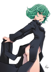 Rating: Safe Score: 4 Tags: 1girl ass baicha green_eyes green_hair highres one-punch_man open_mouth short_hair signature simple_background solo tatsumaki thighs white_background User: DMSchmidt