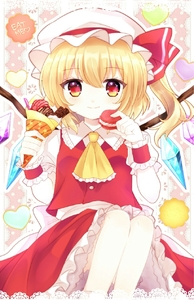 Rating: Safe Score: 1 Tags: 1girl artist_request ascot bent_elbows blonde_hair bow buttons candy chocolate collar collared_shirt cream crepe english eyebrows_visible_through_hair eyelashes eyes_visible_through_hair feet_out_of_frame flandre_scarlet food frilled_collar frilled_skirt frills gem hair_between_eyes hat hat_bow heart highres holding holding_food looking_at_viewer mob_cap multicolored multicolored_eyes pale_skin polka_dot red_bow red_skirt red_vest sash shirt side_ponytail sitting skirt smile solo sweets touhou_project vest white_sash white_shirt wings wrist_cuffs yellow_neckwear User: DMSchmidt