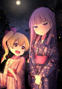 Rating: Safe Score: 0 Tags: 2girls alternate_hairstyle bangs blonde_hair blue_bow blunt_bangs blush bow braid fingernails flandre_scarlet glowing height_difference highres japanese_clothes kimono light_particles long_hair moon multiple_girls nail_polish night night_sky no_hat no_headwear open_mouth own_hands_together patchouli_knowledge purple_eyes purple_hair red_bow red_eyes sharp_fingernails sky smile touhou_project tsukimirin wings yukata User: DMSchmidt