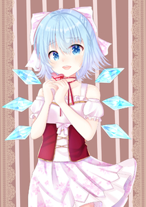 Rating: Safe Score: 0 Tags: 1girl alternate_costume blue_eyes blue_hair blush bow cherry_blossom_print cirno collarbone corset flat_chest hair_bow happy heart ice ice_wings looking_at_viewer neck_ribbon nibosisuzu puffy_short_sleeves puffy_sleeves ribbon short_hair short_sleeves skirt smile solo touhou_project underbust valentine wind wings User: DMSchmidt